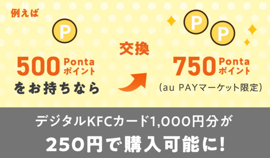 デジタルKFCカード1,000円分が250円で購入可能に!